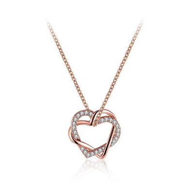 Plated  Rose Gold Heart Pendant with Austrian Element Crystal and Necklace