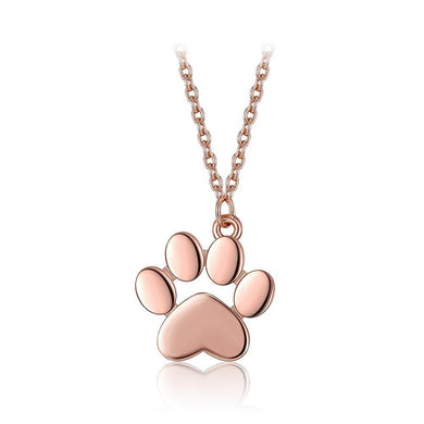 925 Sterling Silver Plated Rose Gold Cute Cat Claw Pendant with Necklace