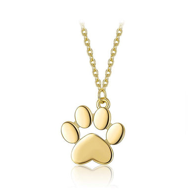 925 Sterling Silver Plated Gold Cute Cat Paw Pendant with Necklace