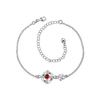Popular Hollow Cross Anklet with Red Austrian Element Crystal - Glamorousky