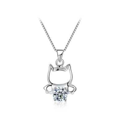 925 Sterling Silver Fashion Cute Little Cat Pendant Necklace with White Cubic Zircon