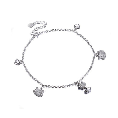925 Sterling Silver Fashion Cute Little Cat Bracelet with Austrian Element Crystal
