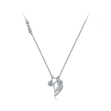 925 Sterling Silver Elegant Fashion Angel Wings Pendant Necklace with Austrian Element Crystal