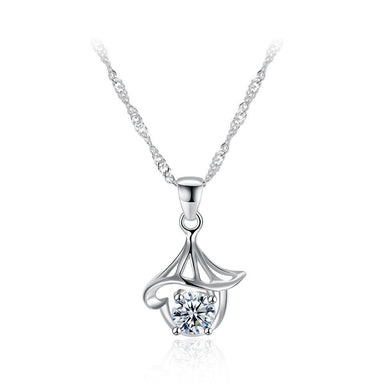 925 Sterling Silver Simple Delicate Hollow Out Mini Conch Pendant Necklace with Cubic Zircon