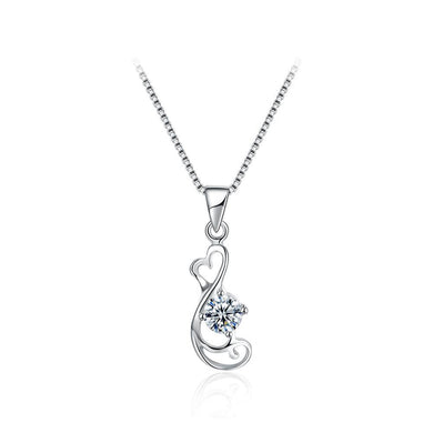 925 Sterling Silver Delicate Elegant Fashion Hollow Out Heart Shape Pendant Necklace with Cubic Zircon