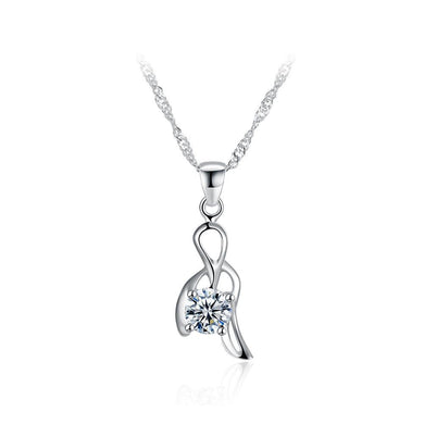 925 Sterling Silver Elegant Simple Delicate Hollow Out Pendant Necklace with Cubic Zircon