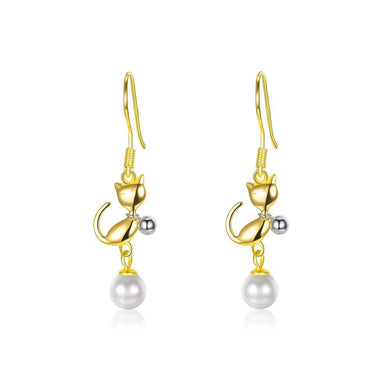 925 Sterling Silve Gold Plated Elegant Fashion Cute Cat Pearl Earrings