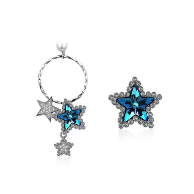 925 Sterling Silve Elegant Romantic Brilliant Fantasy Blue Starry Sky Asymmetric Earrings with Austrian Element Crystal