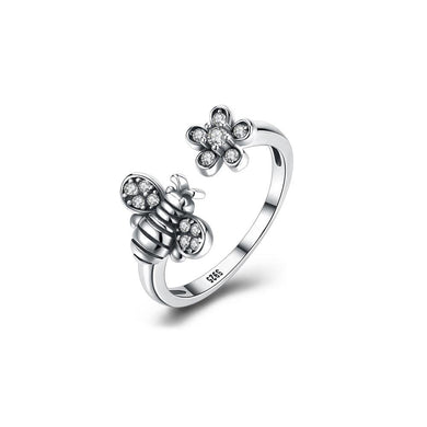 925 Sterling Silver Vintage Little Bee Cubic Zircon Adjustable Ring - Glamorousky