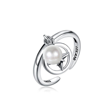 925 Sterling Silver Vintage Elegant Fashion Star Adjustable Opening Ring with Non Natural Pearl - Glamorousky