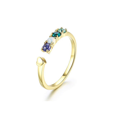 925 Sterling Silver Gold Plated Elegant Noble Fashion Adjustable Opening Ring with Multicolor Austrian Element Crystal - Glamorousky