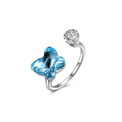 925 Sterling Silve Elegant Romantic Sweet Fantasy Butterfly Adjustable Opening Ring with Blue Austrian Element Crystal - Glamorousky