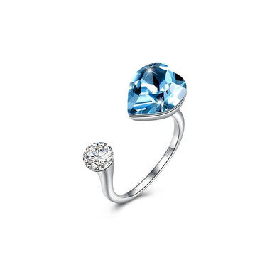 925 Sterling Silve Elegant Romantic Sweet Blue Austrian Element Crystal Heart Shape Adjustable Opening Ring - Glamorousky