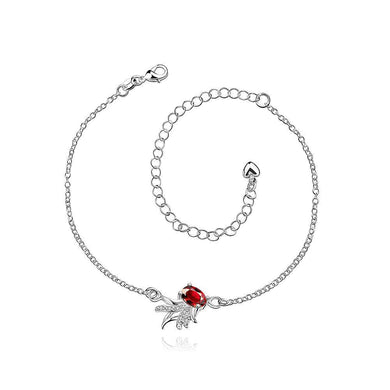 Silver Plated Fashion Elegant Goldfish Cubic Red Zircon Anklet - Glamorousky
