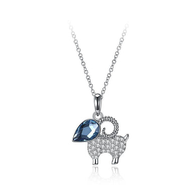 925 Sterling Silver Cute Goat Pendant with Blue Austrian Element Crystal and Necklace