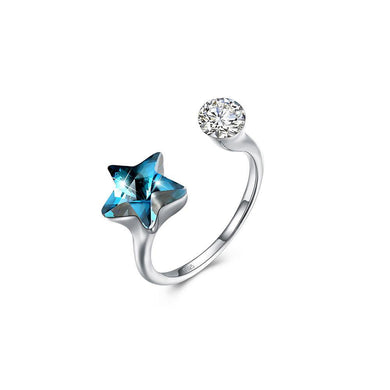 925 Sterling Silver Fashion Simple Star Blue Austrian Element Crystal Adjustable Ring - Glamorousky