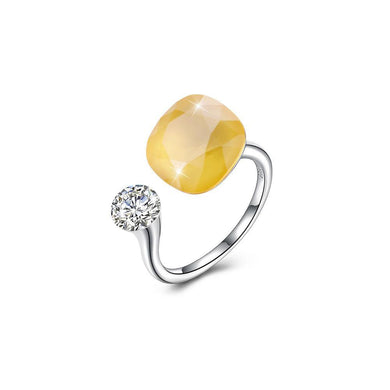 925 Sterling Silver Fashion Personalized Yellow Austrian Element Crystal Cube Adjustable Ring - Glamorousky