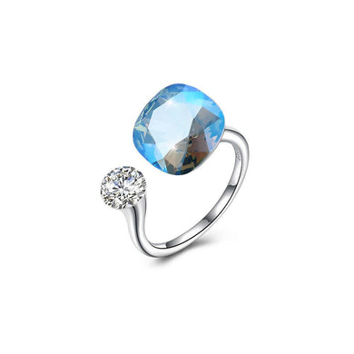 925 Sterling Silver Fashion Simple Blue Austrian Element Crystal Square Adjustable Ring - Glamorousky
