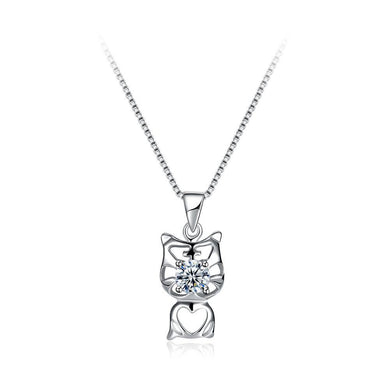 925 Sterling Silver Fashion Cute Cat Pendant with Cubic Zircon and Necklace