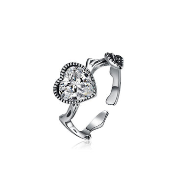925 Sterling Silver Fashion Vintage Heart Shaped Cubic Zircon Adjustable Ring - Glamorousky
