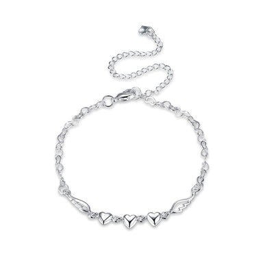 Simple Romantic Heart Shaped Angel Wing Anklet - Glamorousky