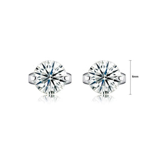 925 Sterling Silver Simple and Bright Cubic Zirconia Round Stud Earrings