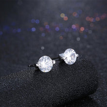 Load image into Gallery viewer, 925 Sterling Silver Simple and Bright Cubic Zirconia Round Stud Earrings