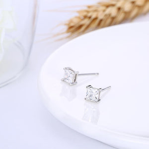 925 Sterling Silver Simple Fashion Geometric Square Cubic Zircon Stud Earrings