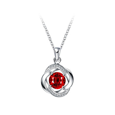 Fashion Classic Flower Pendant with Red Cubic Zircon and Necklace