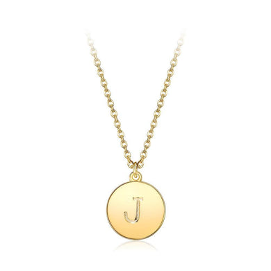 Fashion Simple Plated Gold Letter J Round Pendant with Necklace