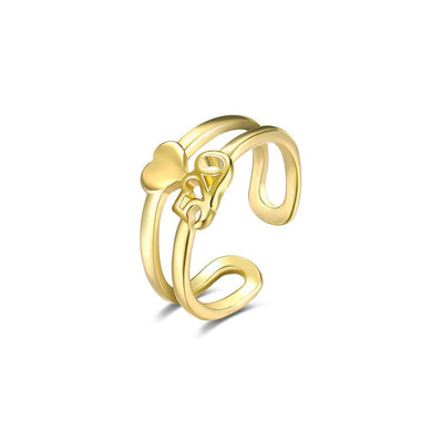 Fashion Plated Gold 520 Heart Shaped Adjustable Open Ring - Glamorousky