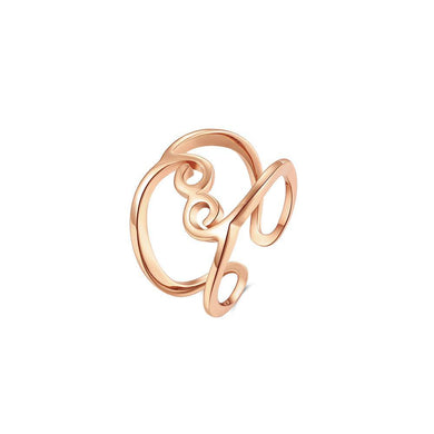 Fashion Simple Plated Rose Gold Geometric Lines Adjustable Open Ring - Glamorousky
