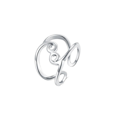 Fashion Simply Geometric Line Adjustable Split Ring - Glamorousky