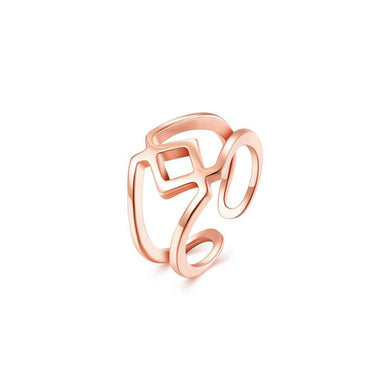 Fashion Simply Plated Rose Gold Geometric Adjustable Split Ring - Glamorousky