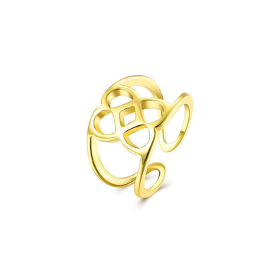 Simple Plated Gold Pattern Adjustable Split Ring - Glamorousky