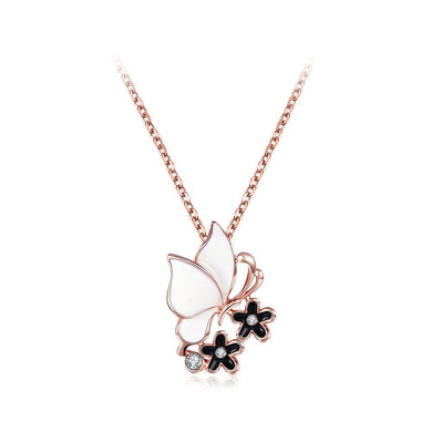 Elegant Plated Rose Gold Butterfly Pendant with Austrian Element Crystal and Necklace