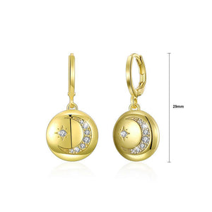 Fashion Plated Gold Star Moon Round Earrings with Austrian Element Crystal - Glamorousky