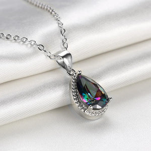 Fashion and Elegant Water Drop-shaped Pendant with Colored Cubic Zircon and Necklace - Glamorousky