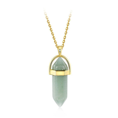 Fashion Elegant Plated Gold Geometric Green Agate Pendant with Necklace