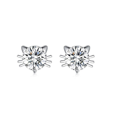 Simple Cute Cat Cubic Zircon Stud Earrings