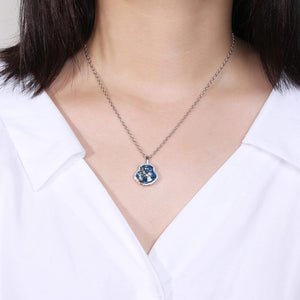 Fashion Dolphin Tail Pendant with Blue Austrian Element Crystal and Necklace