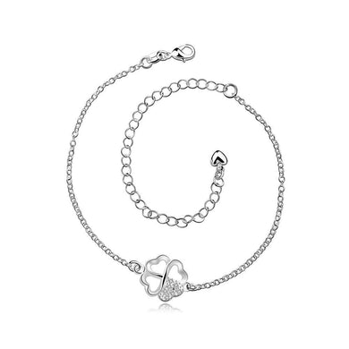 Fashion Simple Four-leafed Clover Anklet with Austrian Element Crystal - Glamorousky