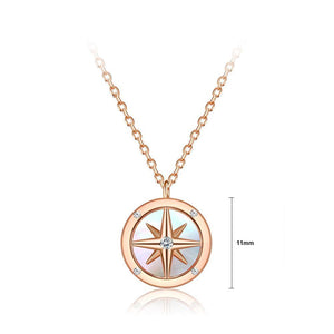 925 Sterling Silver Plated Rose Gold Fashion Star Round Pendant with Cubic Zircon and Necklace