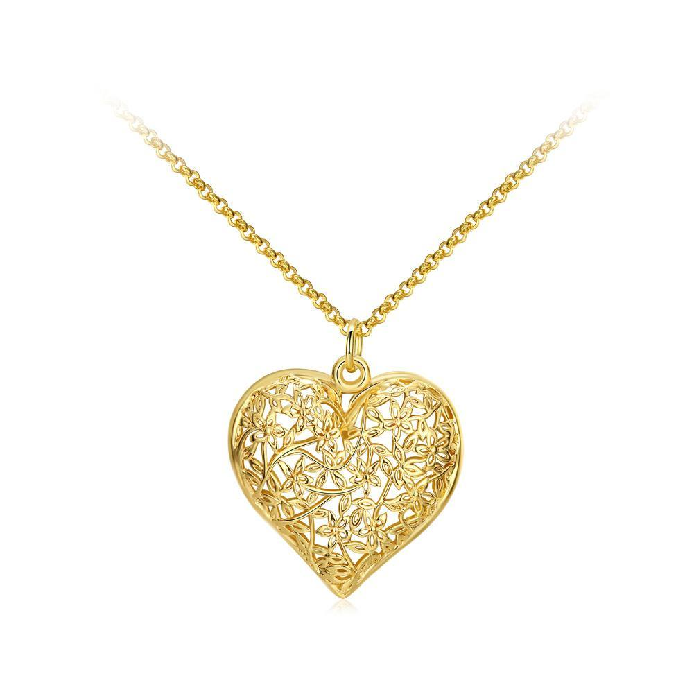 Classic Romantic Plated Gold Hollow Heart Carved Pendant with Necklace