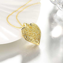 Load image into Gallery viewer, Classic Romantic Plated Gold Hollow Heart Carved Pendant with Necklace