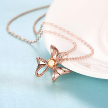 Load image into Gallery viewer, Simple and Elegant Plated Rose Gold Flower Pendant with Champagne Cubic Zircon and Necklace
