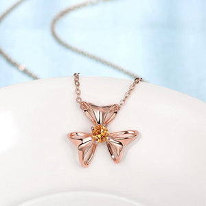 Simple and Elegant Plated Rose Gold Flower Pendant with Champagne Cubic Zircon and Necklace