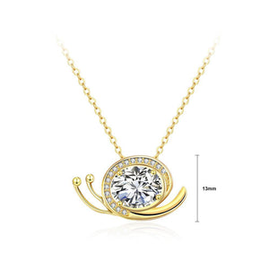 Simple and Cute Plated Gold Snail Pendant with White Cubic Zircon and Necklace - Glamorousky