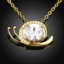 Load image into Gallery viewer, Simple and Cute Plated Gold Snail Pendant with White Cubic Zircon and Necklace - Glamorousky