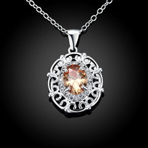 Fashion Elegant Geometric Carved Pendant with Champagne Cubic Zircon and Necklace